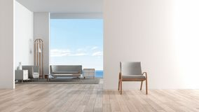Modern interior living room wood floor with sofa set. chair in front of living room sea view summer 3d rendering vector illustration