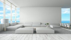Modern interior living room wood floor sofa set sea view summer 3d rendering. minimal interior design royalty free illustration