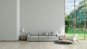 Modern interior living room wood floor white texture wall with gray sofa and chair window garden view template for mock up 3d rend royalty free illustration
