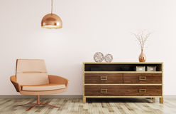 Modern interior of living room with wooden dresser and recliner. Modern interior of living room with wooden dresser, recliner chair and lamp 3d rendering Royalty Free Stock Image