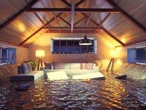 Modern interior loft. Flooding  modern interior loft in the evening. 3d concept design Stock Photos