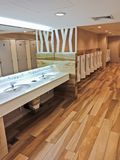 Modern interior male toilet, perspective view. Modern interior male toilet with wooden floor, perspective view Royalty Free Stock Photo