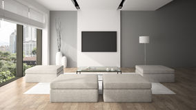 Modern interior in minimalism style 3D rendering Stock Photography