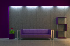 Modern interior at night. Modern interior with purple sofa, tulips and concrete wall