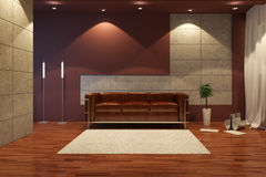 Modern interior at night Royalty Free Stock Photos