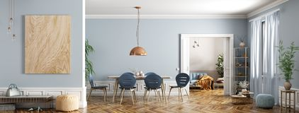 Free Modern Interior Of Apartment, Dining Room With Table And Chairs, Living Room With Sofa, Hall, Panorama 3d Rendering Royalty Free Stock Photo - 160725985