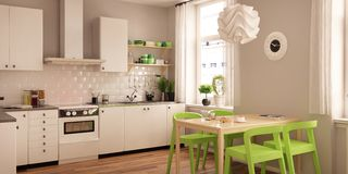 Free Modern Interior Of Living Room United With Kitchen In Scandinavian Style Stock Photos - 148112843