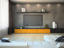 Modern interior with orange cabinet and TV Stock Photo