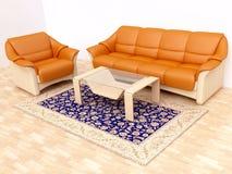 Modern Interior with Orange Sofa. In 3D Stock Photos