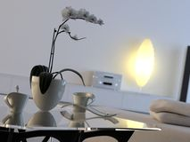 Modern interior with orchid Royalty Free Stock Photography