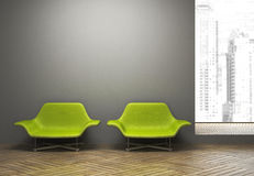 Modern interior with pair of green armchairs Stock Photo
