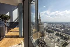 Modern interior with panorama of Warsaw Stock Photo