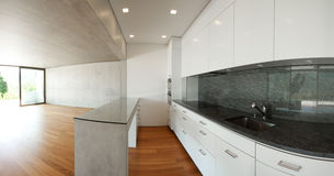 Modern interior panoramic home Royalty Free Stock Image