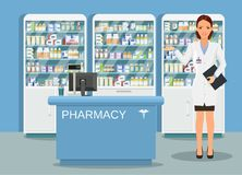 Modern interior pharmacy or drugstore. With male pharmacist at the counter. Medicine pills capsules bottles vitamins and tablets. vector illustration in flat Royalty Free Stock Photo