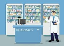 Modern interior pharmacy or drugstore Stock Image