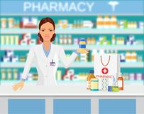 Modern interior pharmacy or drugstore. Pharmacist showing some medicine Shopping bag with different medical pills and bottles, healthcare and shopping. Vector Royalty Free Stock Image