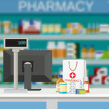 Modern interior pharmacy and drugstore. Royalty Free Stock Images