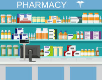 Modern interior pharmacy and drugstore. Pharmacy shelves with medicine pills bottles liquids and capsules. vector illustration in flat style Stock Images