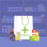 Modern interior pharmacy and drugstore.  Vector simple illustration. Royalty Free Stock Images