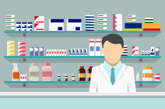 Modern interior pharmacy with male pharmacist Royalty Free Stock Images