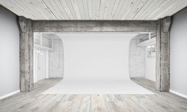 Modern Interior of Photo Studio with white background Stock Images