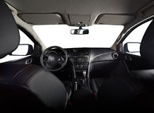 Modern interior of pickup truck. With isolated windows and leather seats stock photo