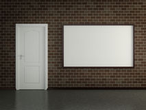 Modern interior with the picture, door and brick wall Royalty Free Stock Photos