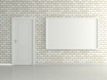 Modern interior with the picture, door and brick wall Stock Images
