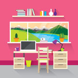 Modern interior in pink. Stock Photos