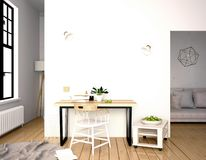 Modern interior, a place for study, consisting of working Desk a. Nd chair. 3D illustration. wall mock up Stock Photo