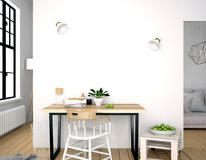 Modern interior, a place for study, consisting of working Desk a. Nd chair. 3D illustration. wall mock up Stock Images