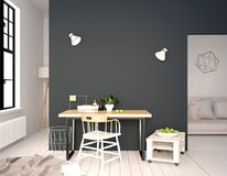 Modern interior, a place for study, consisting of working Desk a. Nd chair. 3D illustration. wall mock up Stock Image