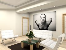 Modern interior with portrait. Modern interior with the fashionable picture stock illustration