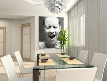Modern interior with portrait. Royalty Free Stock Images