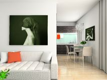 Modern interior with portrait. Modern interior with the fashionable picture vector illustration