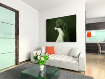 Modern interior with portrait. Stock Photos