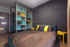 Modern interior of a private bedroom in solid colors Royalty Free Stock Photos