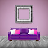 Modern interior with purple sofa Stock Photo