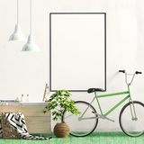 Modern interior with rack, plant and Bicycle. Poster mock up. 3d illustration vector illustration