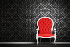 Modern interior with red armchair. Modern interior with a red armchair on a black decorated wall Royalty Free Stock Photos