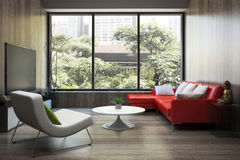 Modern interior with red sofa Stock Photo