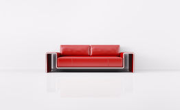 Modern interior with red sofa 3d render Royalty Free Stock Photography