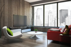 Modern interior with red sofa 3D rendering Stock Images