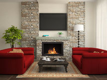 Modern interior with red sofas and fireplace. 3D Royalty Free Stock Images