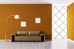 Modern interior with sofa 3d render. Modern interior of room with brown sofa 3d render Stock Images