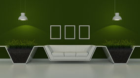 Modern interior room 3D with nice furniture inside Stock Photo
