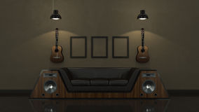 Modern interior room 3D with nice furniture inside Stock Photography