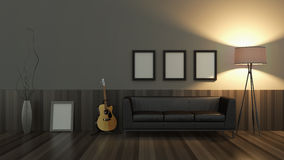 Modern interior room 3D with nice furniture inside Royalty Free Stock Image