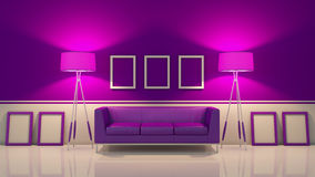 Modern interior room 3D with nice furniture inside Stock Photos