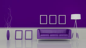 Modern interior room 3D with nice furniture inside Royalty Free Stock Images